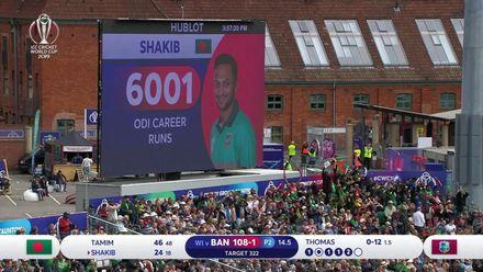 CWC19: WI v BAN - Shakib brings up 6000 runs in ODIs