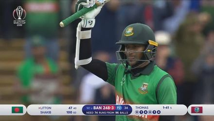 CWC19: WI v BAN - Shakib brings up his hundred with cracking cover drive