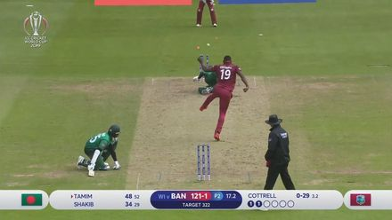 CWC19: WI v BAN - Amazing fielding from Cottrell runs out Tamim for 48