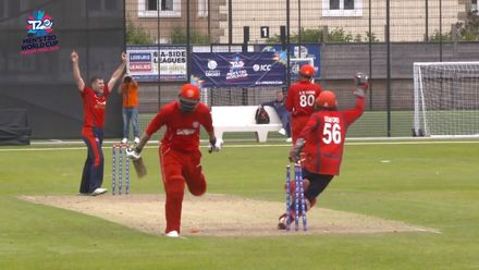 ICC Men's T20 World Cup Europe Final 2019, Jersey v Denmark - Long distance run out as Jersey takes another Danish wicket