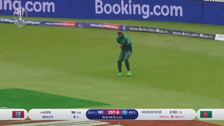 CWC19: WI v BAN - Shai Hope is caught off Mustafizur for 96