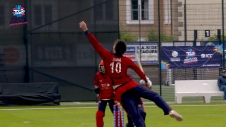 ICC Men's T20 World Cup Europe Final 2019, JSY v NOR - another spectacular catch - Jersey's Ben Stevens C&B to dismiss Norway's Tafseer Ali