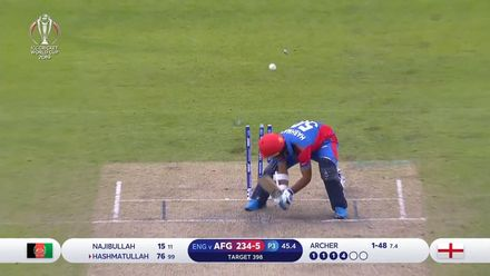 CWC19: ENG v AFG - Full delivery from Archer sees end of Hashmatullah