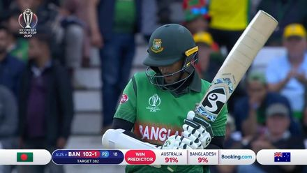 CWC19: AUS v BAN - Shakib is caught at mid-off via a leading edge