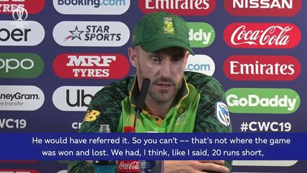 CWC19: NZ v SA - du Plessis on not reviewing Williamson chance
