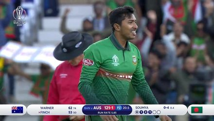 CWC19: AUS v BAN - Soumya Sarkar gets the key wicket of Finch