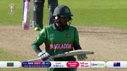 CWC19: AUS v BAN - Mehidy chips to mid-on