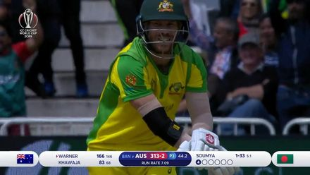CWC19: AUS v BAN - Warner gives a catch to short third man for Sarkar's second