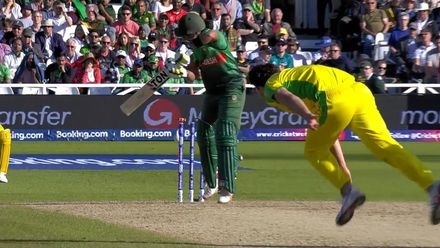 CWC19: AUS v BAN - Sabbir plays on first ball