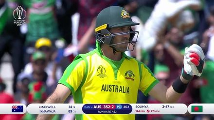 CWC19: AUS v BAN - Maxwell is run out after mix up with Khawaja
