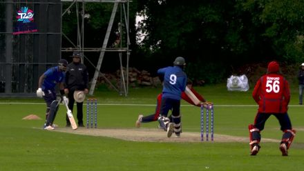 ICC Men's T20 World Cup Europe Final 2019, Jersey v Italy: Anthony Hawkins-Kay catches one off his own bowling