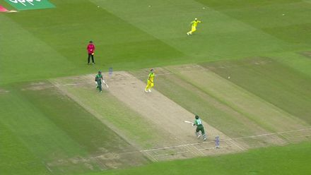 CWC19: AUS v BAN - Soumya Sarkar is run out by a direct hit from Aaron Finch