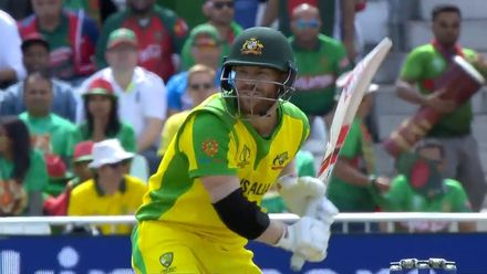 CWC19: AUS v BAN - Warner hooks Mustafizur for his first six