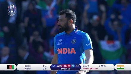 CWC19: IND v AFG - Mohammad Shami bowling highlights