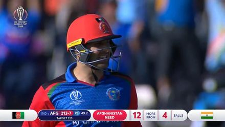 CWC19: IND v AFG - Nabi caught at long-on for 52