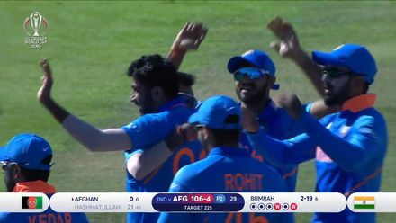 CWC19: IND v AFG - Hashmatullah caught and bowled