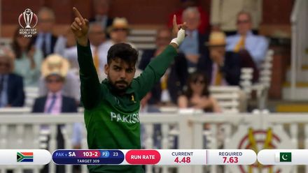 CWC19: Pak v SA - Highlights of Shadab's 3/50