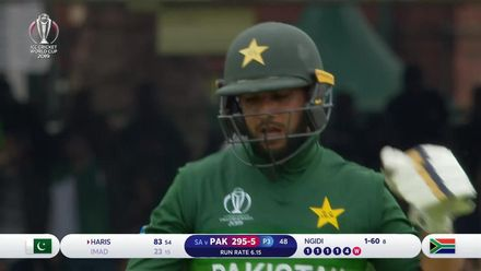 CWC19: Pak v SA - Imad Wasim is well caught by Duminy in the deep