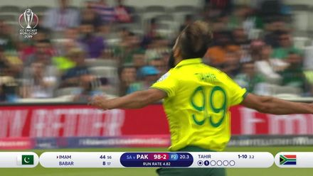 Nissan POTD: Imran Tahir takes a one-handed caught and bowled
