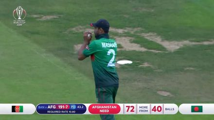 CWC19: BAN v AFG - Rashid is caught at midwicket