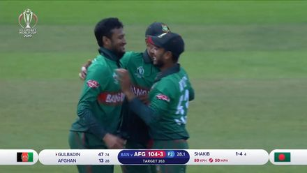 CWC19: BAN v AFG - Sharp Liton catch removes Gulbadin