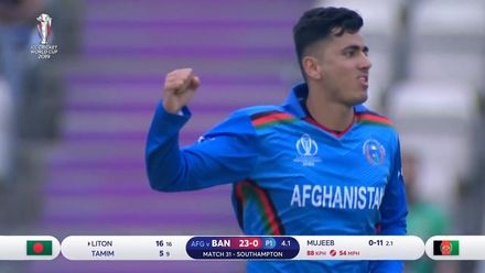 CWC19: BAN v AFG - Mujeeb has Liton caught at short cover