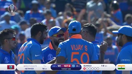 CWC19: WI v IND – Brathwaite is caught behind for just 1