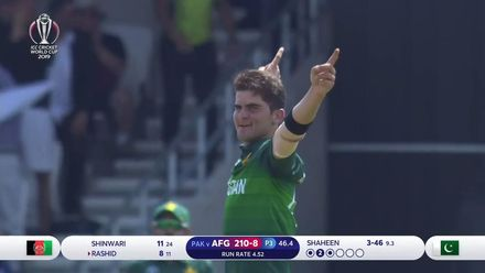 CWC19: PAK v AFG - Shaheen Afridi takes his fourth wicket of the innings