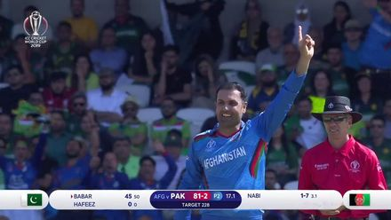 CWC19: PAK v AFG - Nabi gets the big wicket of Babar