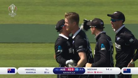 CWC19: NZ v AUS - Neesham has Maxwell caught and bowled