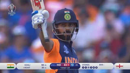 CWC19: ENG v IND - Virat Kohli brings up his fifth ODI 50 in a row