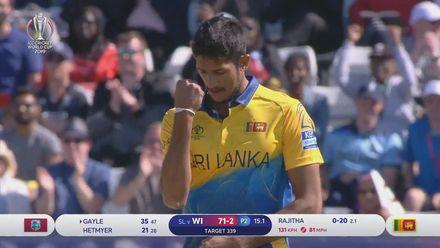 CWC19: SL v WI - Kasun Rajitha gets the huge wicket of Chris Gayle