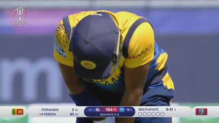 CWC19: SL v WI - Kusal Perera is run out after a mix up