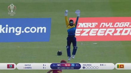 CWC19: SL v WI - Ambris is caught behind off Malinga