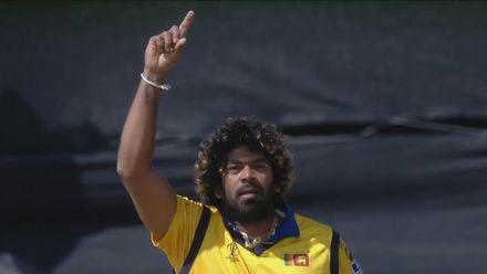 CWC19: SL v WI - Shai Hope is bowled by Malinga