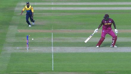 CWC19: SL v WI - Carlos Brathwaite is unluckily run out backing up