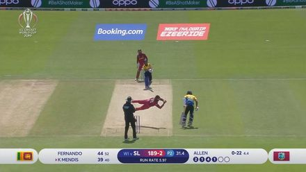 CWC19: SL v WI - Brilliant caught and bowled by Fabian Allen dismisses Kusal Mendis