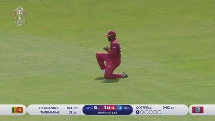 CWC19: SL v WI - Avishka Fernando is caught in the deep for 104