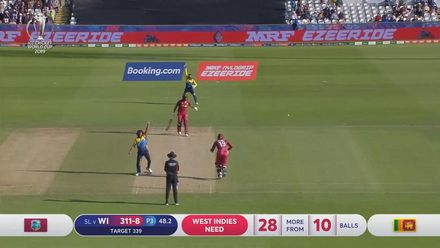 CWC19: SL v WI - Oshane Thomas is lbw to Lasith Malinga