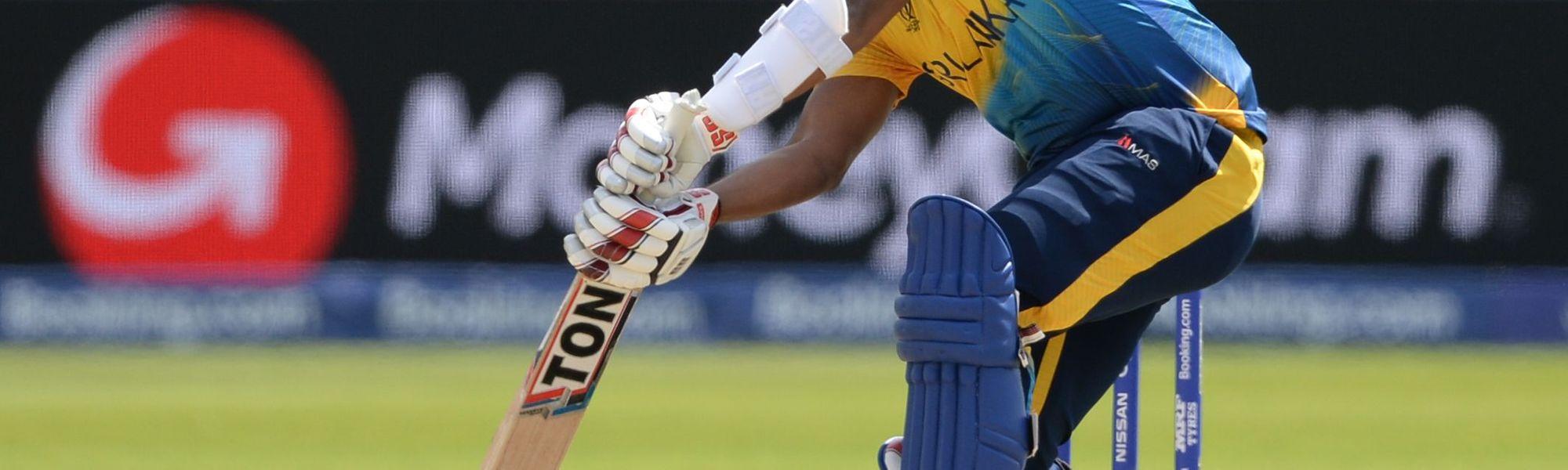Avishka Fernando drives against West Indies at the Riverside Durham