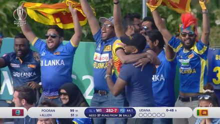 CWC19: SL v WI - Fabian Allen is run out for 51