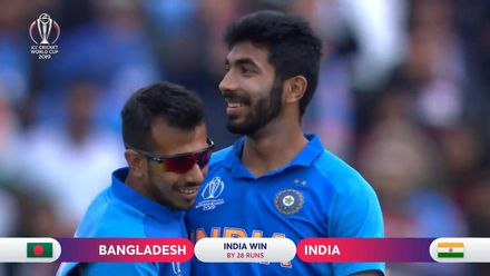 CWC19: BAN v IND - Bumrah takes the last wicket