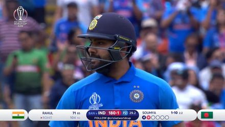 CWC19: BAN v IND - Rohit is dismissed shortly after bringing up ton