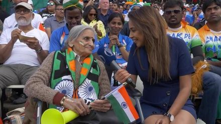 CWC19: BAN v IND - 87-year-old lady enjoys her cricket in Edgbaston