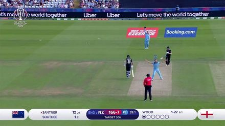 CWC19: ENG v NZ - Wood traps Santner lbw as England head to victory