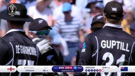 CWC19: ENG v NZ - Woakes departs giving Neesham his second wicket