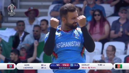 CWC19: AFG v WI – Dawlat has Hetmyer caught at mid-wicket for 39