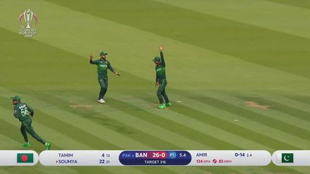 CWC19: PAK v BAN - Excellent catch by Fakhar Zaman dismisses Soumya Sarkar