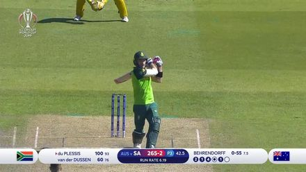 CWC19: AUS v SA - Du Plessis is caught at third man after reaching century