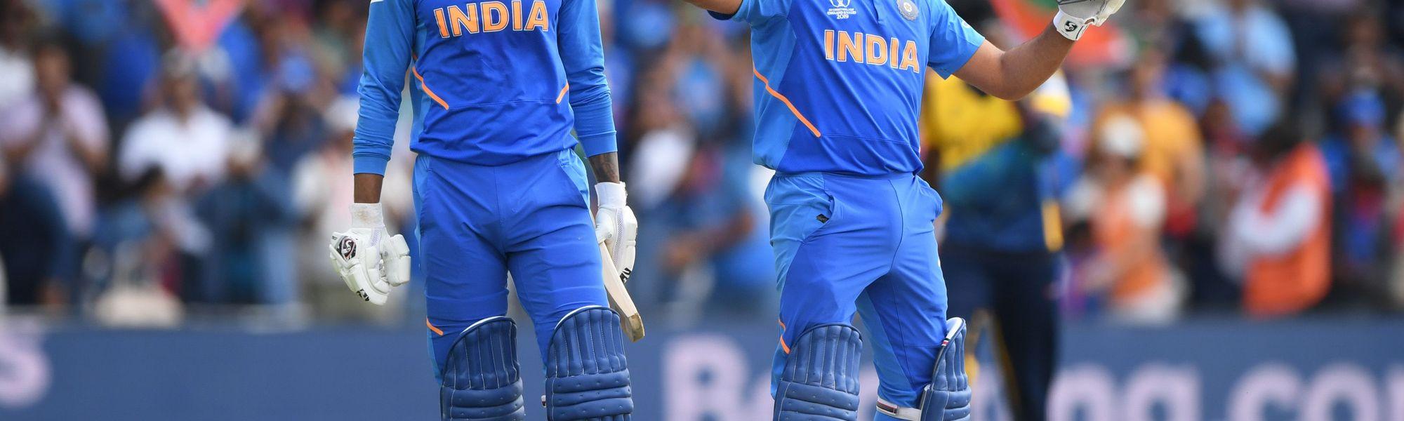 Rohit Sharma celebrates a century against Sri Lanka at Headingley